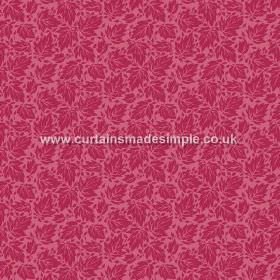Akela (Linen Union) - 2 - Dark pink coloured linen fabric with a design of randomly arranged bright red leaves