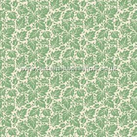 Akela (Linen Union) - 3 - Linen fabric with green leaves printed on a white background