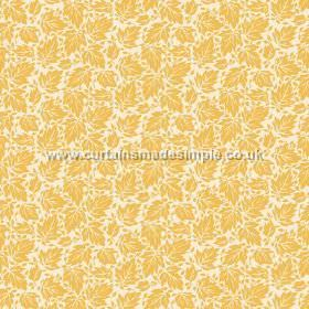Akela (Linen Union) - 4 - Mustard yellow coloured leaves printed on a white linen fabric background