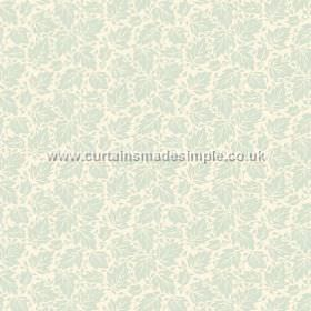 Akela (Linen Union) - 5 - Linen fabric in white with a very subtle pale duck egg blue leaf print on top