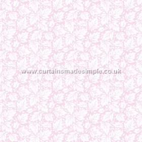 Akela (Cotton) - 6 - Light pink cotton fabric with a leaf print design in white