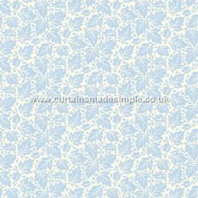 Akela (Linen Union) - 7 - Linen fabric in white and baby blue, with a busy leaf print pattern