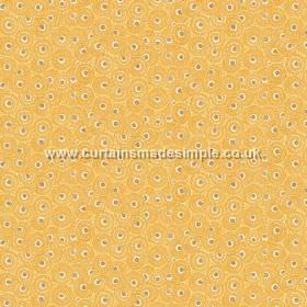 Tounga (Cotton) - 4 - Fabric made from cotton with a mostly yellow design of circles, but with some cream and grey dots as well