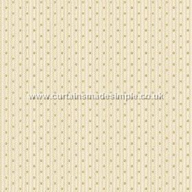 Sahi (Cotton) - 1 - Cream and white striped cotton fabric with a series of tiny mid green dots