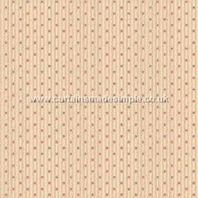 Sahi (Linen Union) - 2 - Dark pink-purple dots arranged in rows down a subtly striped cream coloured linen fabric background