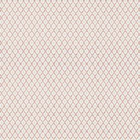 Bouquet Spot (Cotton) - 9 - Duck egg blue ovals within red-purple diagonal lines which make diamond shapes, on white cotton fabric