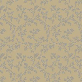 Bouquet Trail (Cotton) - 1 - Large grey swirls with small leaves printed on olive green coloured cotton fabric