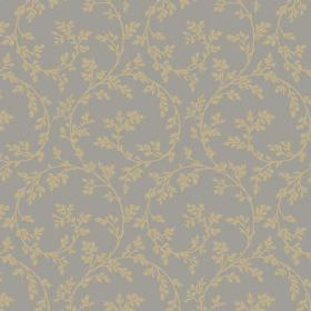 Bouquet Trail (Cotton) - 2 - A background of grey cotton with an olive green leaf and swirl pattern