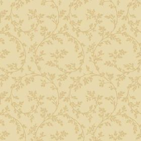 Bouquet Trail (Linen Union) - 3 - Pale yellow linen fabric patterned with green-gold coloured leaves and swirls