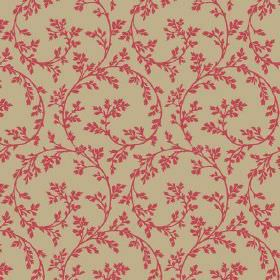 Bouquet Trail (Cotton) - 4 - Olive green coloured cotton fabric with a sweeping swirl pattern and small leaves, all in scarlet