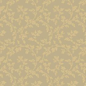 Bouquet Trail (Linen Union) - 5 - Yellow-green leaves with large, curving swirls printed on green-grey linen fabric