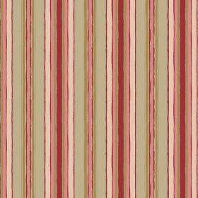 Bouquet Stripe (Cotton) - 2 - Red, pink, cream and green striped cotton fabric