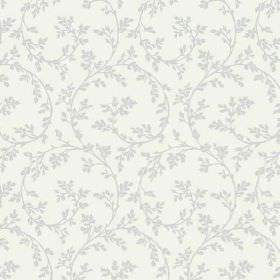 Bouquet Trail (Linen Union) - 6 - Grey swirls and leaves printed on a white linen fabric background