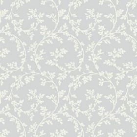 Bouquet Trail (Linen Union) - 7 - Grey linen fabric printed with large white curves and small white leaves