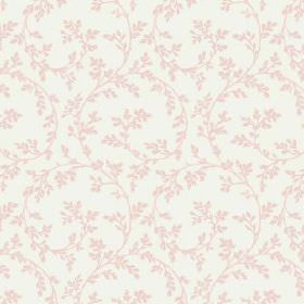 Bouquet Trail (Linen Union) - 8 - Pale pink leaves connected by large swirls of the same colour, decorating white linen fabric