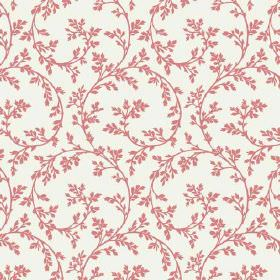 Bouquet Trail (Linen Union) - 9 - Salmon pink coloured swirls and leaves as a pattern for plain white linen fabric