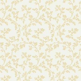 Bouquet Trail (Cotton) - 10 - Green-yellow swirl pattern with leaves on a white cotton fabric background