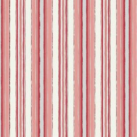Bouquet Stripe (Cotton) - 3 - Rough stripes of white, light grey, dark red and salmon pink on cotton fabric