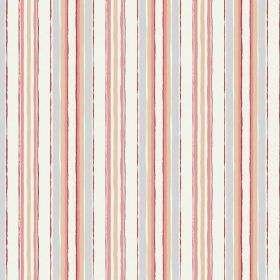 Bouquet Stripe (Cotton) - 4 - Fabric made from cotton with a roughly striped design in pastel colours: blue, green, pink, beige and white
