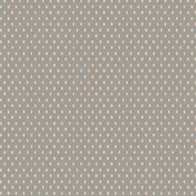 Bouquet Spot (Cotton) - 2 - Cream oval shapes arranged in rows on a grey cotton fabric background