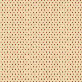 Bouquet Spot (Linen Union) - 3 - Dark red ovals dotted in regular rows over pale yellow linen fabric