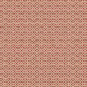 Bouquet Spot (Linen Union) - 4 - Dark red stepped diagonal lines and matching ovals printed on a beige linen fabric background