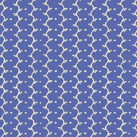 Casella (Linen Union) - 1 - Linen fabric with white wavy lines and dots on a cobalt blue background with a hint of purple