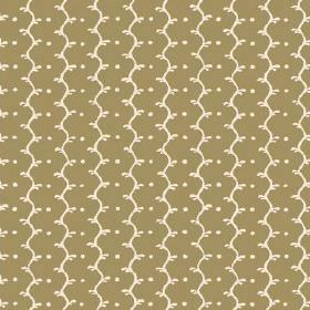 Casella (Linen Union) - 10 - Cream coloured wavy lines and dots running lengthways down an olive green linen fabric background