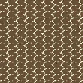 Casella (Linen Union) - 11 - Linen fabric in brown and cream colours, with wavy lines and dots against a flat background