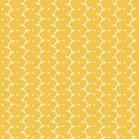 Casella (Cotton) - 12 - Off-white wavy lines and dots printed on a summery yellow cotton fabric background