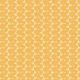 Casella (Linen Union) - 13 - Columns of cream dots and wavy lines running down light orange coloured linen fabric