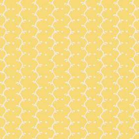 Casella (Linen Union) - 14 - Wavy lines and white dots arranged into rows on lemon yellow linen fabric