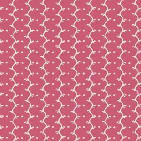 Casella (Cotton) - 15 - Bright pink cotton fabric with a pattern of white wavy lines and white dots
