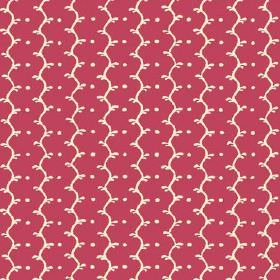 Casella (Linen Union) - 16 - Alternating rows of dots and wavy lines which are off-white, on linen fabric in a dark pink colour