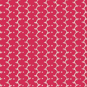 Casella (Cotton) - 19 - Rose pink cotton fabric with wavy white lines and white dots running down the length of it