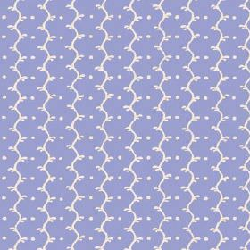 Casella (Linen Union) - 2 - Pale lilac coloured linen fabric with wavy lines and dots in a bright shade of white