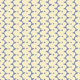 Casella Reverse (Linen Union) - 1 - Cream fabric made from linen, with simple wavy lines and dots patterning the surface in cobalt blue