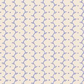 Casella Reverse (Linen Union) - 2 - Rows of light blue-mauve dots and wavy lines printed on white linen