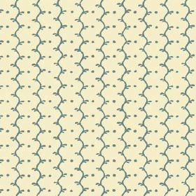 Casella Reverse (Linen Union) - 4 - A pattern of dark turquoise wavy lines and dots decorating a plain cream coloured linen fabric