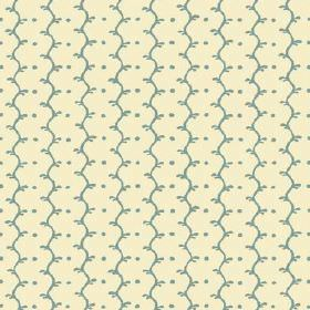 Casella Reverse (Linen Union) - 5 - Linen fabric in a cream colour as a background for wavy dusky blue stripes and rows of dots