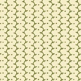 Casella Reverse (Cotton) - 6 - Vertical wavy lines and rows of dots in forest green printed on cream coloured cotton fabric