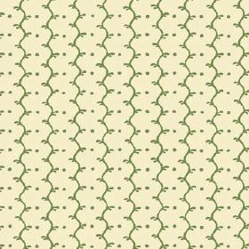 Casella Reverse (Linen Union) - 7 - Wavy lines and dots in mid green running vertically down this cream coloured linen fabric