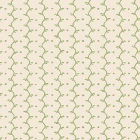 Casella Reverse (Cotton) - 8 - Milk white cotton fabric with minty green wavy lines and dots running vertically down it