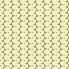 Casella Reverse (Linen Union) - 9 - Patterned linen fabric with forest green lines which are wavy and dots on a cream background
