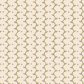Casella Reverse (Cotton) - 10 - Rows of wavy olive green lines and dots running down an off-white cotton fabric background