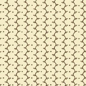 Casella Reverse (Cotton) - 11 - Chocolate coloured dots and lines which are wavy printed onto cream cotton fabric