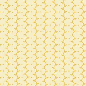 Casella Reverse (Cotton) - 12 - Yellow wavy lines and dots printed on a cream cotton fabric background