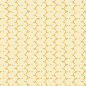 Casella Reverse (Linen Union) - 13 - A pattern of gold coloured wavy lines and dots printed on this warm cream coloured linen fabric