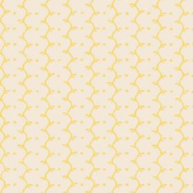 Casella Reverse (Cotton) - 14 - Cream cotton fabric patterned with stripes of light yellow dots and wavy lines