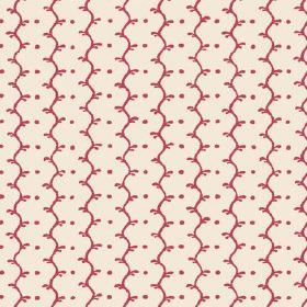 Casella Reverse (Linen Union) - 16 - Dark pink-red pattern of wavy stripes and dots on a background of off-white linen fabric